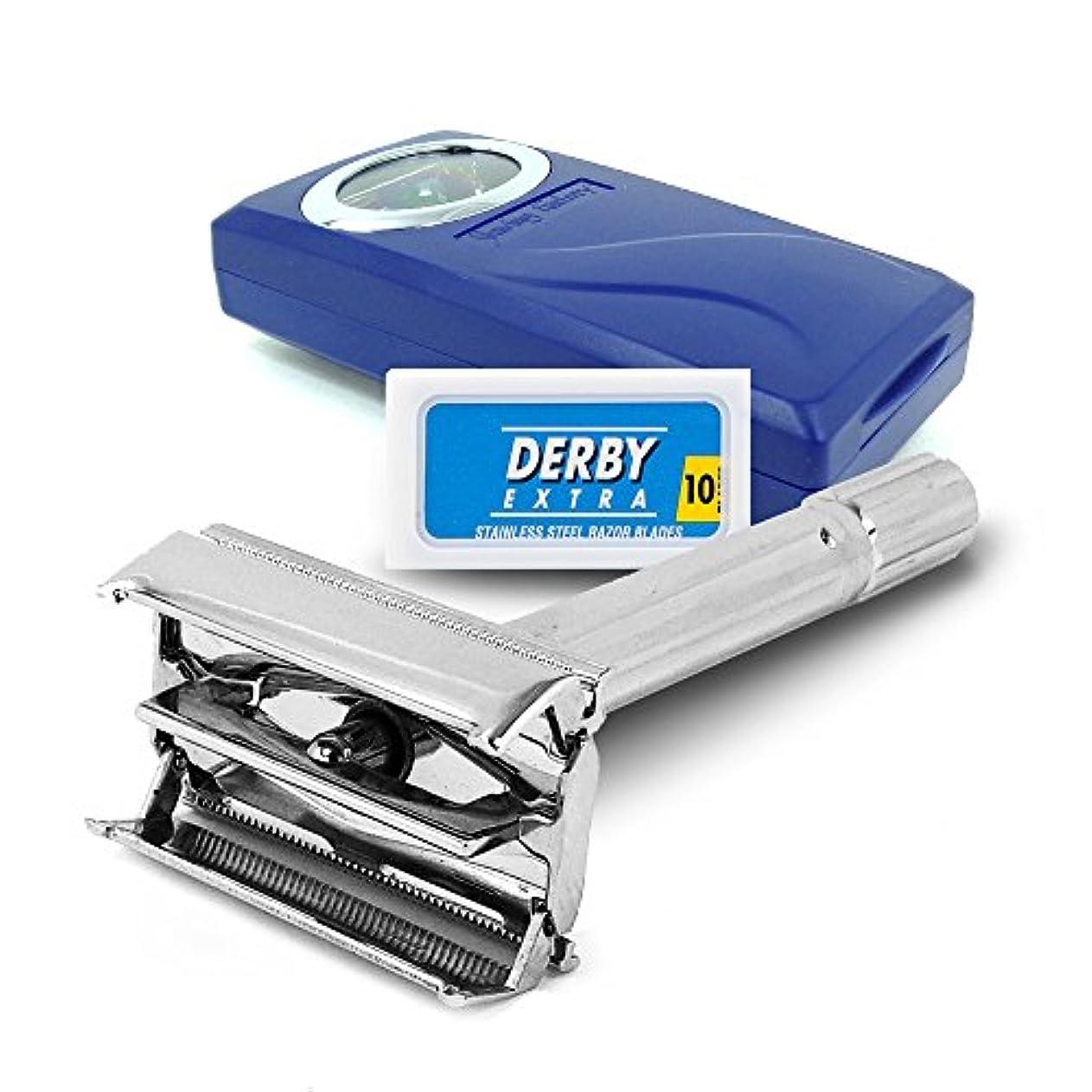 エール暗くするリスキーなSF120−シェービングファクトリー 安全剃刀両刃ホルダー、ダービーエキストラ剃刀両刃 男性へのご贈答に