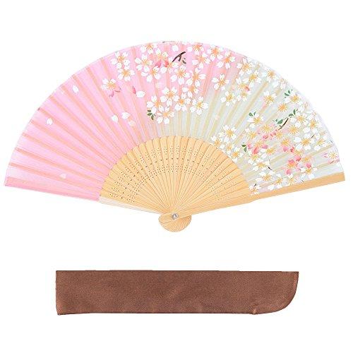 絹 シルク 扇子 桜 花 花柄 扇子袋付 箱入り 母の日 プレゼント 暑さ 対策 レディース 女性 ピンク グラデーションピンク