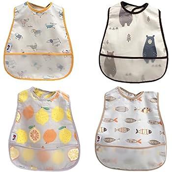 920a1a907895c Setaria Viridis スーパービブ 赤ちゃん 食事エプロン ソフトスタイ ベビー防水よだれかけ 子供食事用スタイ 4枚セット (セット2)