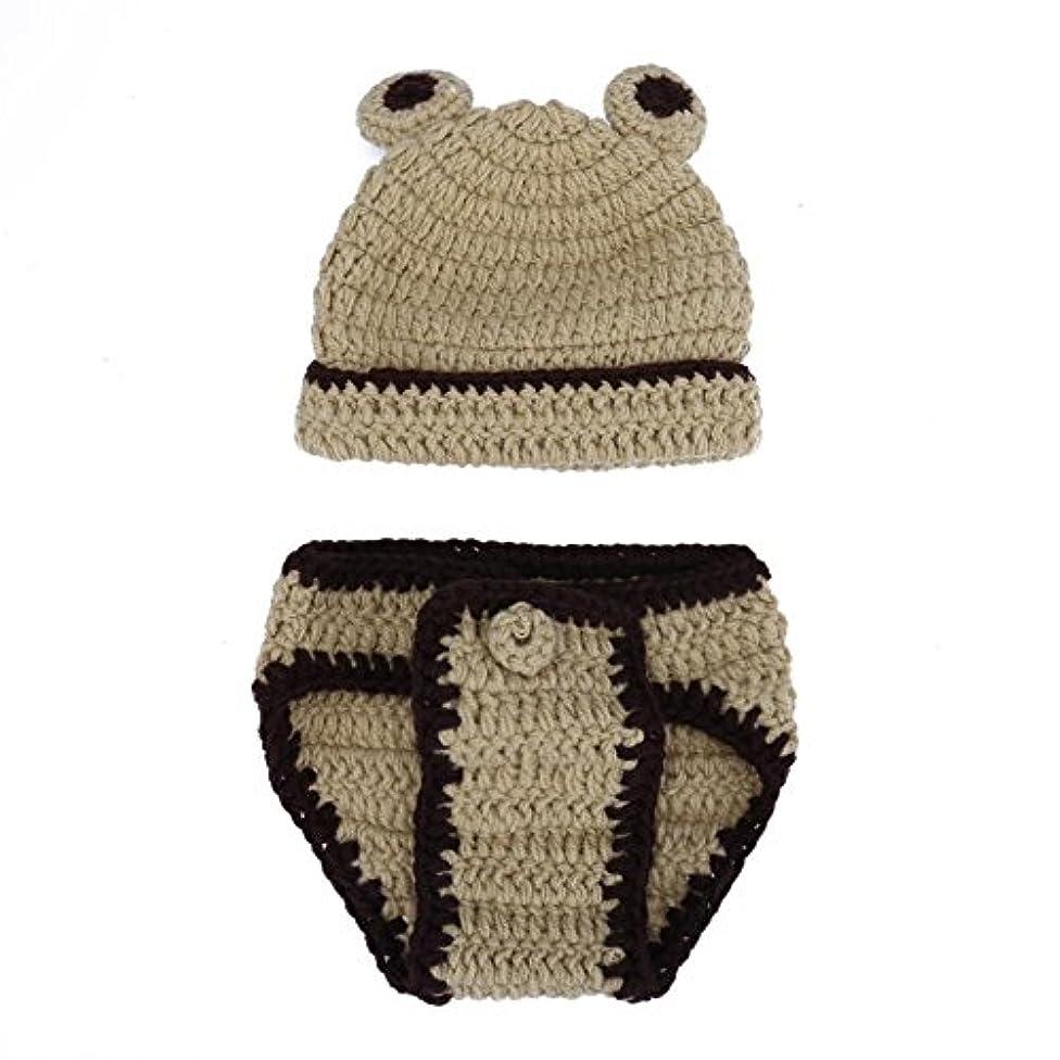 ライオネルグリーンストリート公然と年Bestjpshop 可愛い 新生児 赤ちゃん ニット 写真撮影 コスチューム 着ぐるみ スタジオ撮影衣類  可愛い帽子+パンツセット 手作り 写真の小道具 グレー