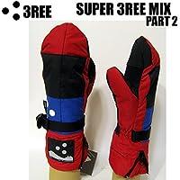 3REE 半額。 スノーボードグローブ 3REE スリー SUPER 3REE MIX パート2 RED MIX 14-15 ミトングローブ スノボー グローブ 3TON