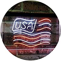 USA Flag Decoration United States of America Bar Beer Pub Club Dual LED看板 ネオンプレート サイン 標識 White & Orange 300mm x 210mm st6s32-i3068-wo