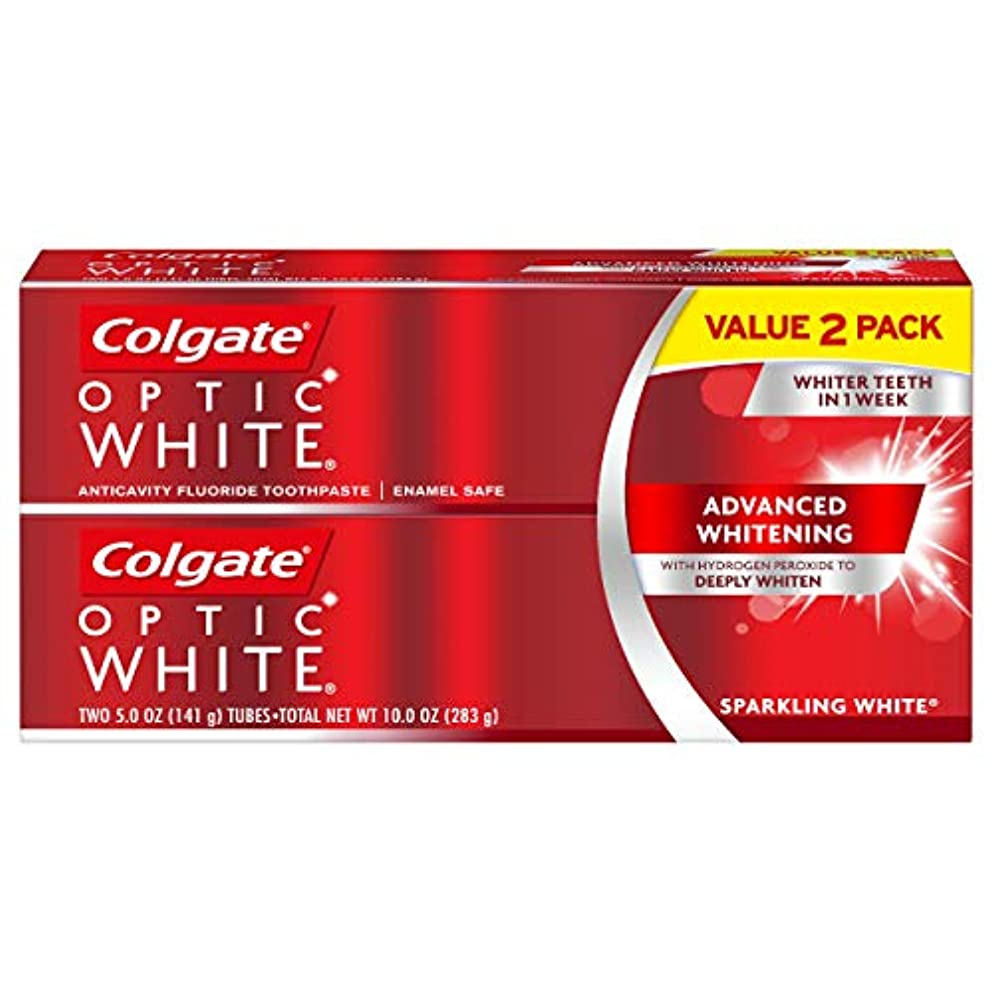 耳持続的文字Colgate オプティックホワイト虫歯予防フッ素歯磨きスパークリングミント - 2 PK
