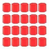 【ノーブランド 品】17ミリメートル 赤 20個 車のホイール タイヤネジのパックは、ボルトカバー ナットキャップラグ  タイヤネジ保護