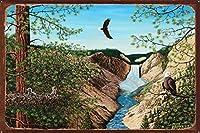 Michael Bennettによるイエローストーンフォールズラスティックメタルアートプリント 24x36 inch MB-31053 OMR-D