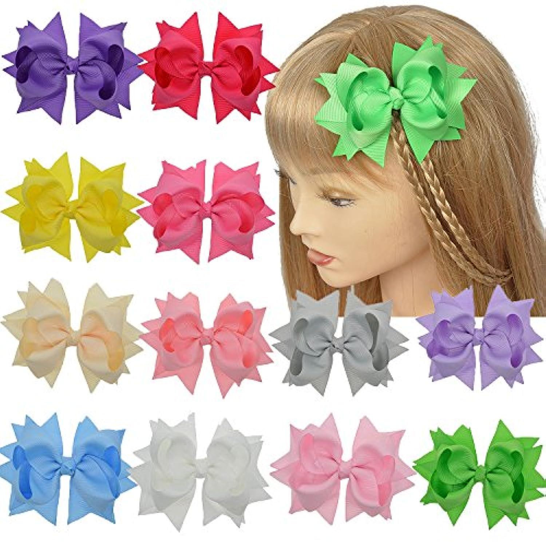 女の子4インチブティック髪の弓と純粋な色のレイヤードフラワーグログリンリボンパック12個