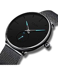 5e25b07836 [チーヴォ]CIVO 腕時計 メンズメッシュウオッチブラック アナログクオーツ防水時計 ...