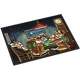 "Caroline's Treasures Corgi Playing Poker Indoor or Outdoor Mat 18x27 7416MAT, 7416MAT, Multicolor, 18"" H x 27"" W"