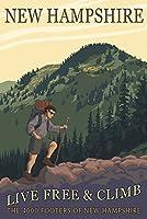 Ossipee湖、New Hampshire–Live Free and Climb 12 x 18 Art Print LANT-49948-12x18