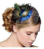Jelinda 花嫁 手工 ヘッドドレス チュール 孔雀の羽 髪飾り 欧風 シルクハット 結婚式 成人式 花火大会 コスプレ プレゼントにも