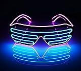 光る LED メガネ マルチカラー コスプレ仮装 カラオケやパーティやイベントに適用 光るアイテム衣装 電池ボックス付き パーティー 仮装 コンサート 発表会用小物 (ピンク/ブルー)