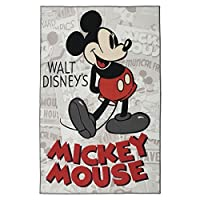 Gertmenian: Disney HD Digital Retro Collection Classic Mickey Mouse Bedding Area Rug 54x78 inch,Large,Gray [並行輸入品]