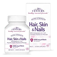 21st Century Hair, Skin and Nails Extra Strength Tablets, 90 Count by 21st Century