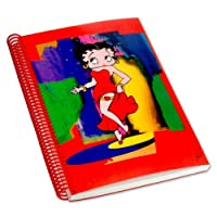 Betty Boop Lenticular超ゆったりプラスチックスパイラル綴じノート(大学ルールド) 6x 9、抽象3dイメージ、レッド