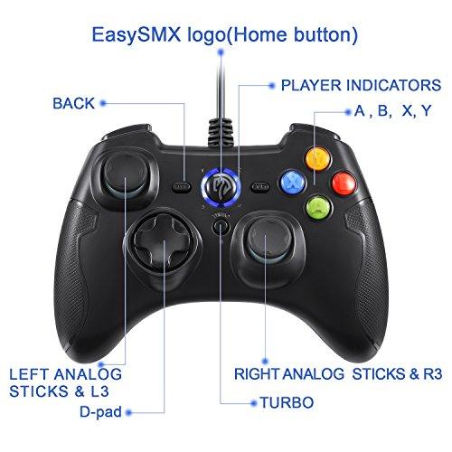 EasySMX有線ゲームコントローラー 連射・振動機能搭載 USBゲームパッド Windows/ Android/ PS3/ TV Boxに対応可能 (ブラック)