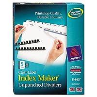 Wholesale CASE of 5–Avery UnpunchedインデックスメーカーW / tabs-indexメーカー、レーザー、非パンチ、5-tab、ホワイト、25-sets / BX