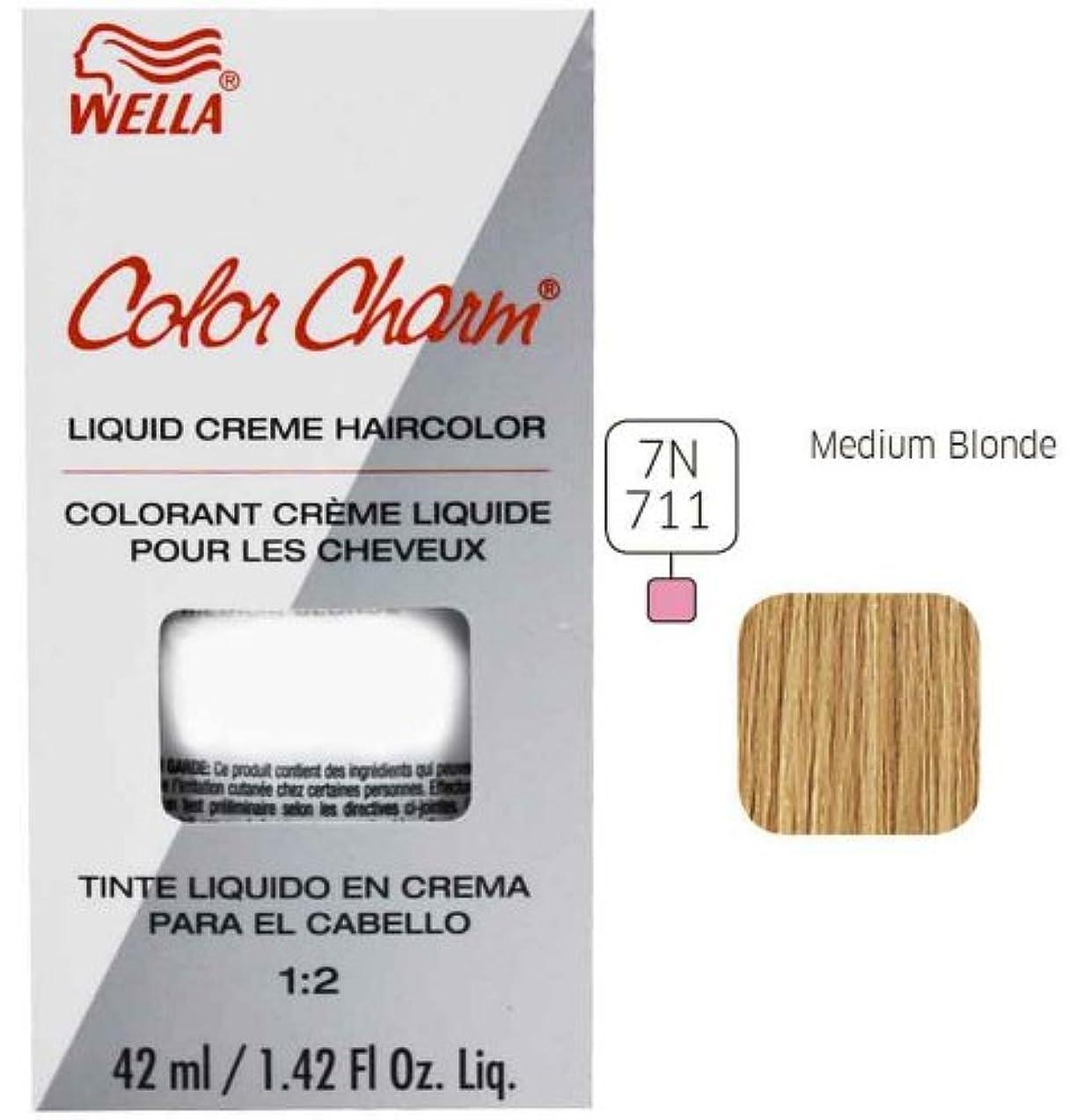 瞬時にマニュアル処理Wella - Colorcharm - Permanent Liquid - Medium Blonde 7N /711-1.4 OZ / 42 mL