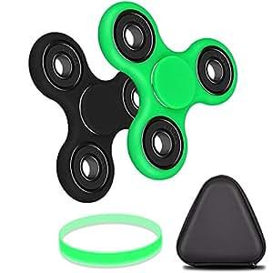 Olycism 指スピナー ボールベアリング ハンドスピナー 三角指スピナー 指先のこま おもちゃ フォーカス玩具 おもちゃ デスク玩具 ストレス解消(ブラック&グリーン 2個セット)