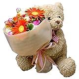 花 誕生日 フラワーギフト くまのぬいぐるみ付き花束 (ガーベラ)