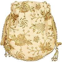 Fancy Haat Silk Ethnic Rajasthani Women's Potli Bag (Dark Orange)