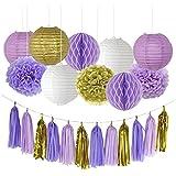 Funpa 紙ポンポン 燈籠 タッセル 30cm 21点セット 紫 誕生日 お祝い 結婚式 卒業式 パーティー デコレーション 掛け飾り 紙