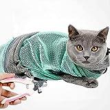 zmayastar 猫用 ネット みのむし袋 洗濯キャットバッグ 猫用 清潔 爪切り注射 点眼 耳掃除などに便利 脱走防止 保定袋 動物病院 ペット美容室 飼い主家庭などに適用 (グリーン)