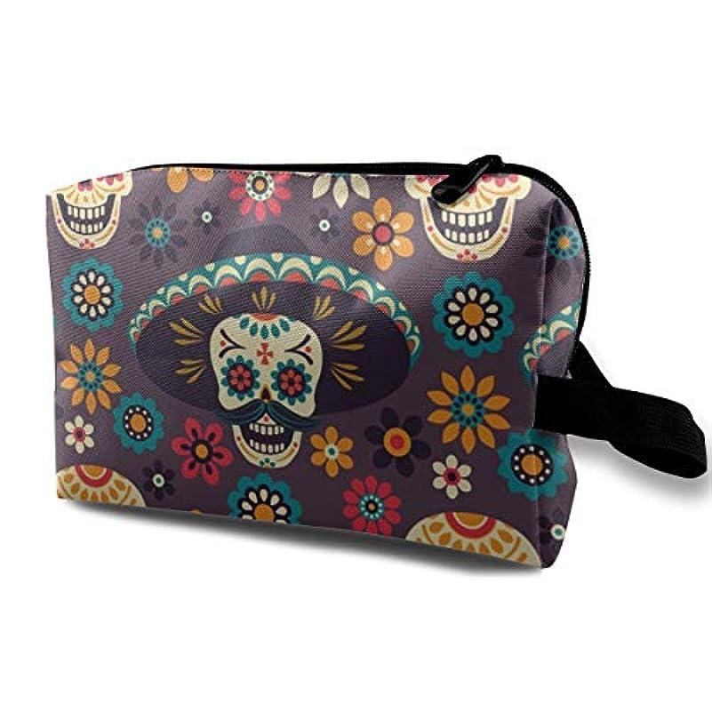 迅速人道的危険にさらされているSugar Skulls Flowers On Dark Background 収納ポーチ 化粧ポーチ 大容量 軽量 耐久性 ハンドル付持ち運び便利。入れ 自宅?出張?旅行?アウトドア撮影などに対応。メンズ レディース...