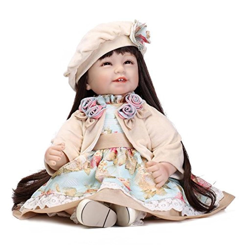 NPKDOLLラブリー玩具人形高ビニル22インチ 55センチメートルリアルなかわいい少年少女の玩具レッドブラックドレスハート 人形 Reborn Baby Doll A1JP
