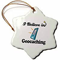 3drose Dooni Designs I Believe In – I Believe In Geocaching – Ornaments 3 inch Snowflake Porcelain Ornament orn_105181_1