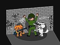 """"""" Bad Cats w / Cop """"面白い漫画タグ付きレンガ壁24x 18–ビニール印刷ポスター"""