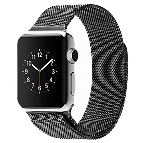 LEEHUR Apple Watch Band ミラネーゼループステンレスマグネット式 金属製交換用時計ベルトアップルウォッチバンド (38mmブラック)