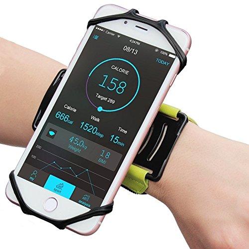 XZA スポーツ スマホアームバンド 180°回転式 ランニングアームバンド 携帯ホルダー マジックテープ式 小物収納 耐衝撃性 防汗 軽量 iPhone 7/7 Plus、Samsung 、Androidなど多機種に適用 (スマホ 4~6インチに対応 付き (Green)