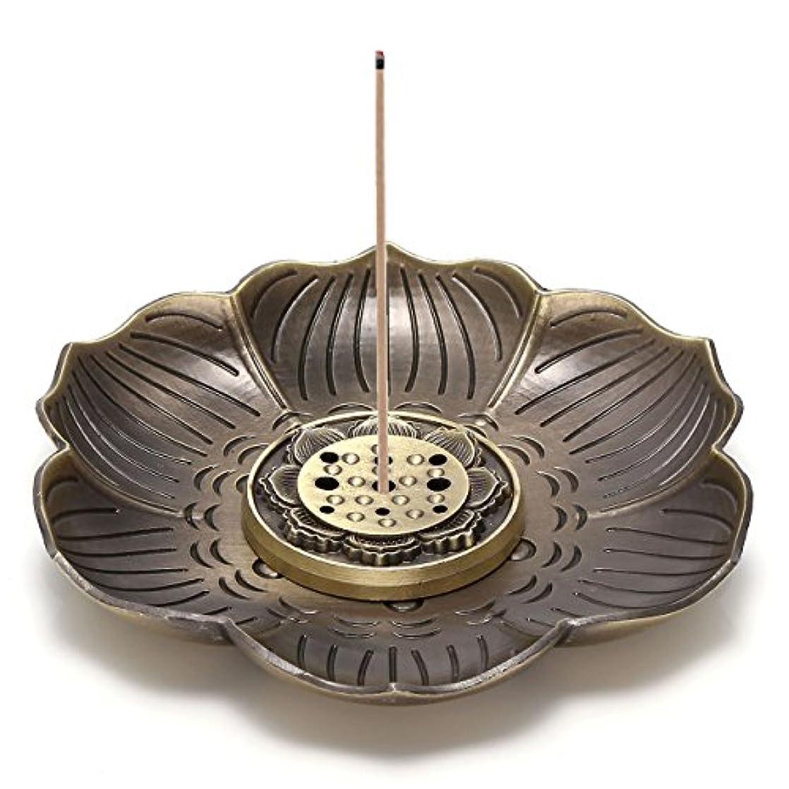 恐ろしいですハード航海のJovivi真鍮Incense Holder – Lotus Stick Incense Burner and Cone Incense逆流ホルダーwith Ashキャッチャー AJ101010100651