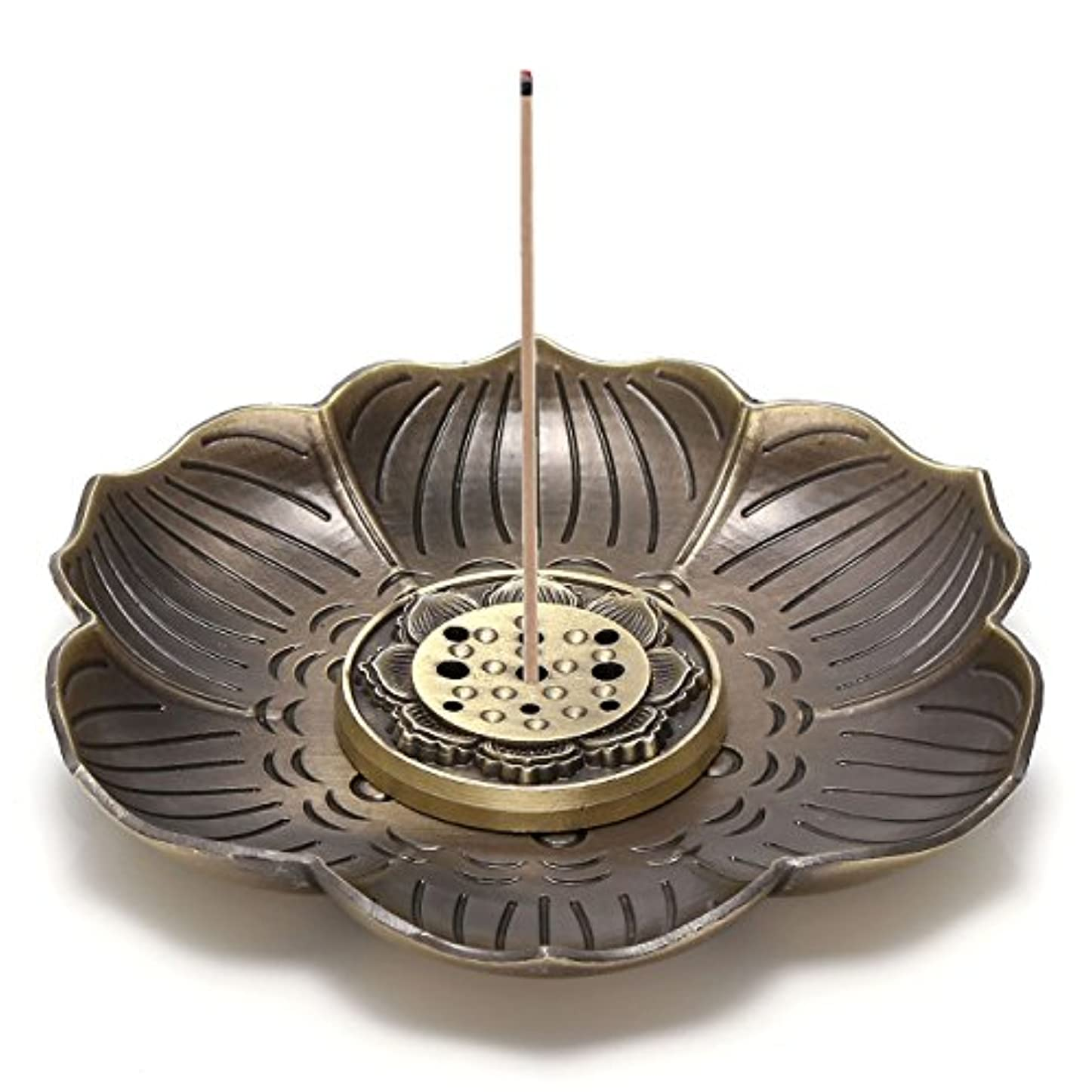 冷える民間表面的なJovivi真鍮Incense Holder – Lotus Stick Incense Burner and Cone Incense逆流ホルダーwith Ashキャッチャー AJ101010100651