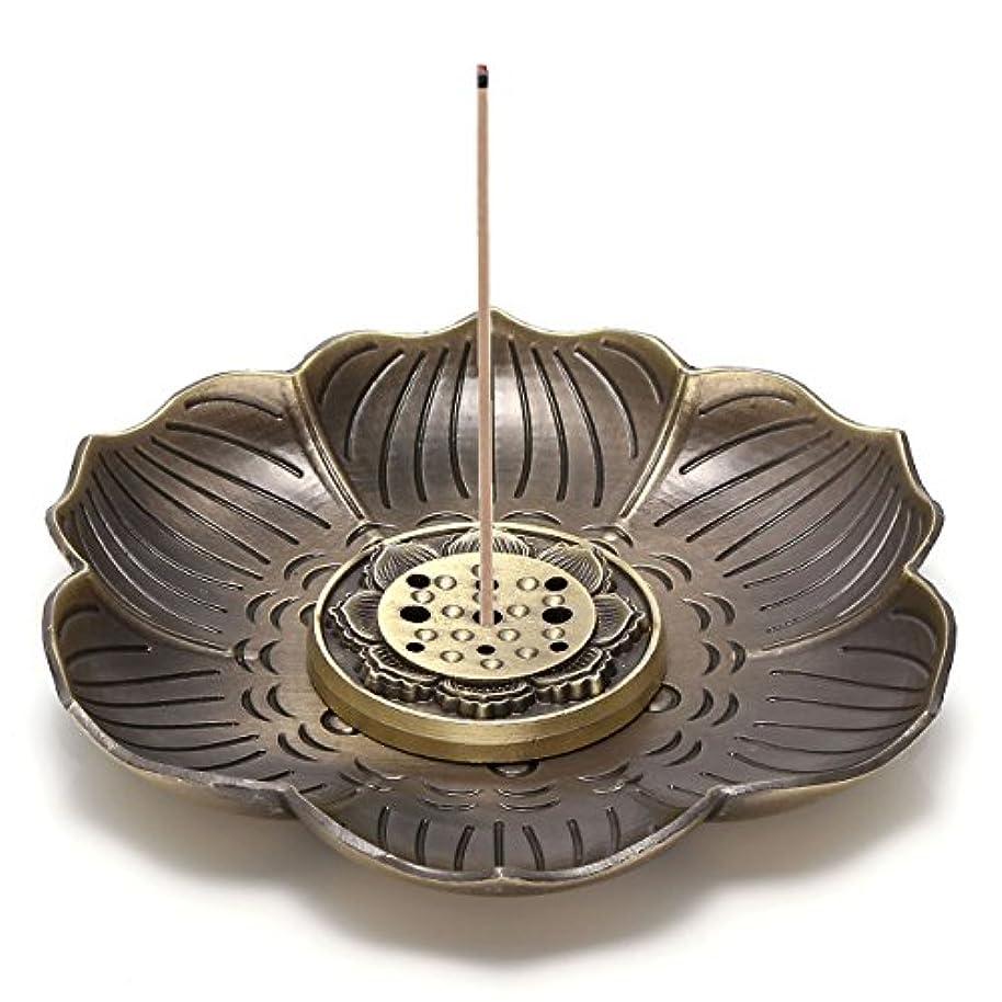 帆風刺浜辺Jovivi真鍮Incense Holder – Lotus Stick Incense Burner and Cone Incense逆流ホルダーwith Ashキャッチャー AJ101010100651