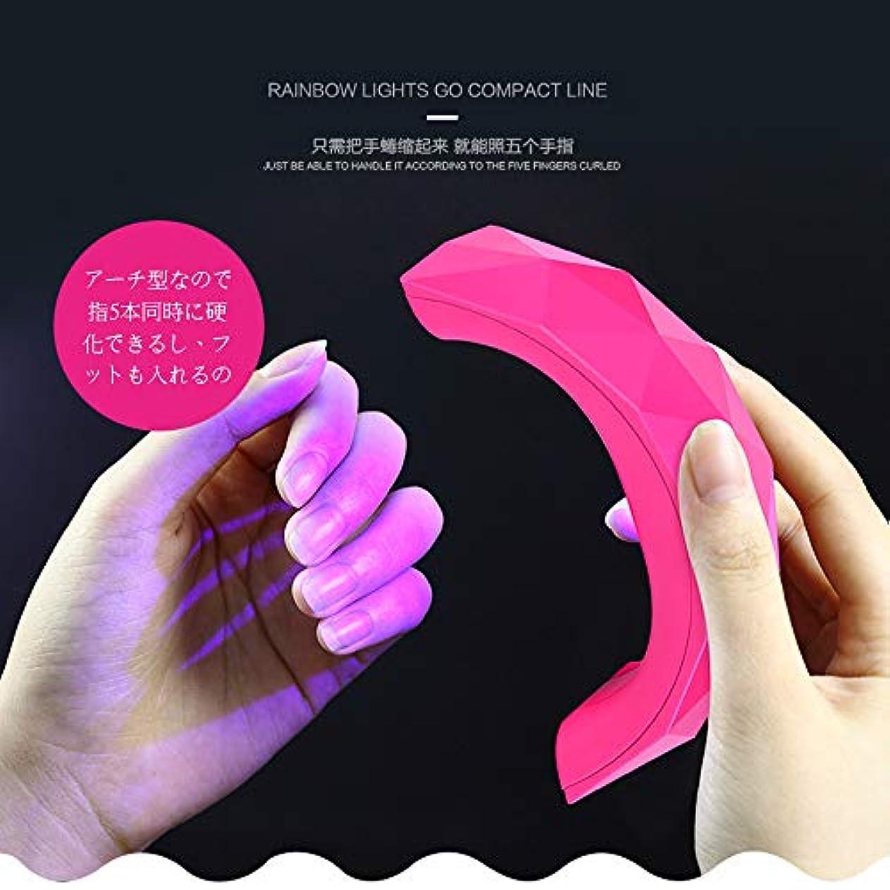 苦しめる省略する商人ネイル道具?ケアツール 硬化用UVライトネイルジェルライト LED+UVライト二重光源搭載全ジェル対応 USB式 60Sタイマー設定 ジェルネイル用 (ピンク)