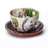 【湯呑 美濃焼】 玉山窯 織部 いっぷく碗(茶托付) / お楽しみグッズ(キッチン用品)付きセット