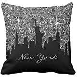 Black and Silver Confetti Glitter New York Skyline Cotton Canvas Throw Pillow Case Cover 18 x 18 inches Square Happy New Year