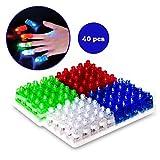 光る指輪 Dizaul おもちゃ フィンガーライト LED パーティーグッズ 40個(4色×10セット)