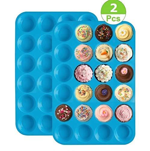シリコンマフィンパン、24カップミニマフィン型、ノンスティックカップケーキベーキングパン、カップケーキ型クッキー型ベーキングウェア缶、シリコンマフィン缶、ブルー