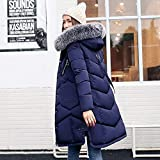 Snow-coveredplateau コート レディース ロング ダウンコート ダウンジャケット 膝下 秋冬 ゆったり 防寒 防風 (ネイビー, XL)