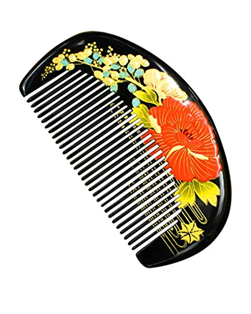 くるくる敬意を表する指令Orienex つげ櫛 簪 手描き ヘアブラシ 携帯用 頭皮マッサージ 非常に高品質 (並歯)