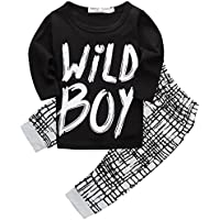 "Canis Baby Boys' ""Wild "" T-Shirt And Grid Pants Outfit"