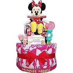 出産祝いに大人気! ディズニー ミニーのおむつケーキ 赤ちゃんの内祝い・誕生日プレゼント ギフトセット ダイパーケーキ 女の子 (パンパースS20 (出産祝い用に))