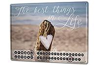 カレンダー Perpetual Calendar Nostalgic Motif Love Tin Metal Magnetic