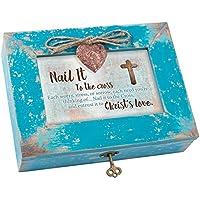 ネイルto the Cross Entrust Love Teal木製ロケットジュエリー音楽ボックスPlays Tune How Great Thou Art