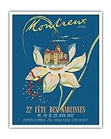 モントルー、スイス - 水仙の22日のごちそう - ビンテージな世界旅行のポスター によって作成された A.デュトイト c.1952 - アートポスター - 41cm x 51cm