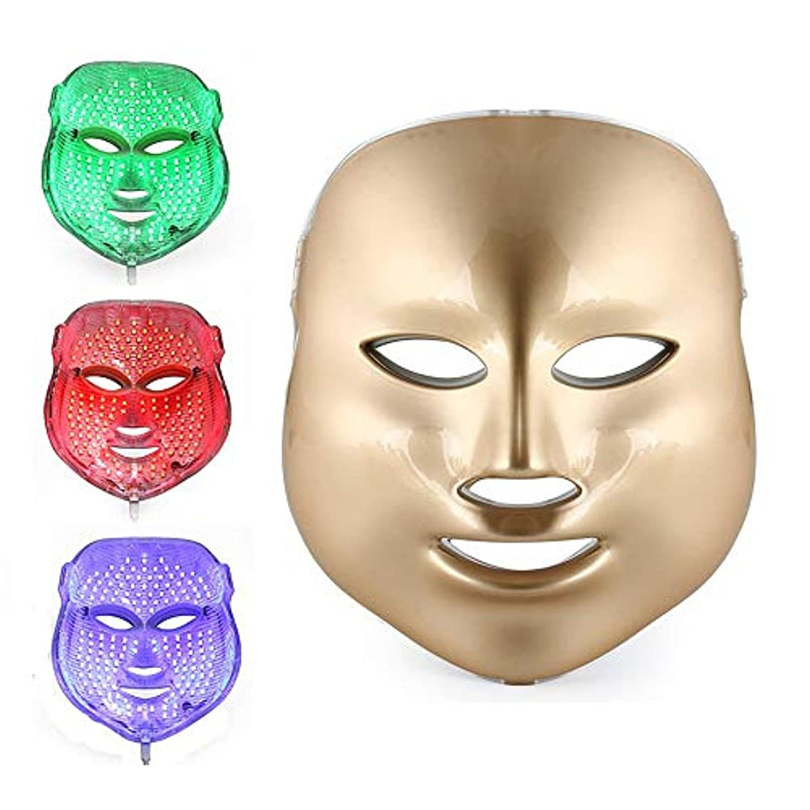 再びコンベンションパネルフォトンセラピー3色LEDマスクゴールドLEDライトセラピートリートメントフェイシャルビューティースキンケアにきびしわホワイトニング用フォトンセラピーマスク