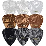 kwmobile Set of 9 Guitar Picks - Includes Thin, Medium, Heavy Gauges for Acoustic, Electric or Bass Guitar, Ukulele - Black