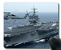 ステッチエッジ付きマウスパッド、軍用USSエンタープライズ(CVN 65)軍艦マウスマット、滑り止めラバーベースマウスパッド